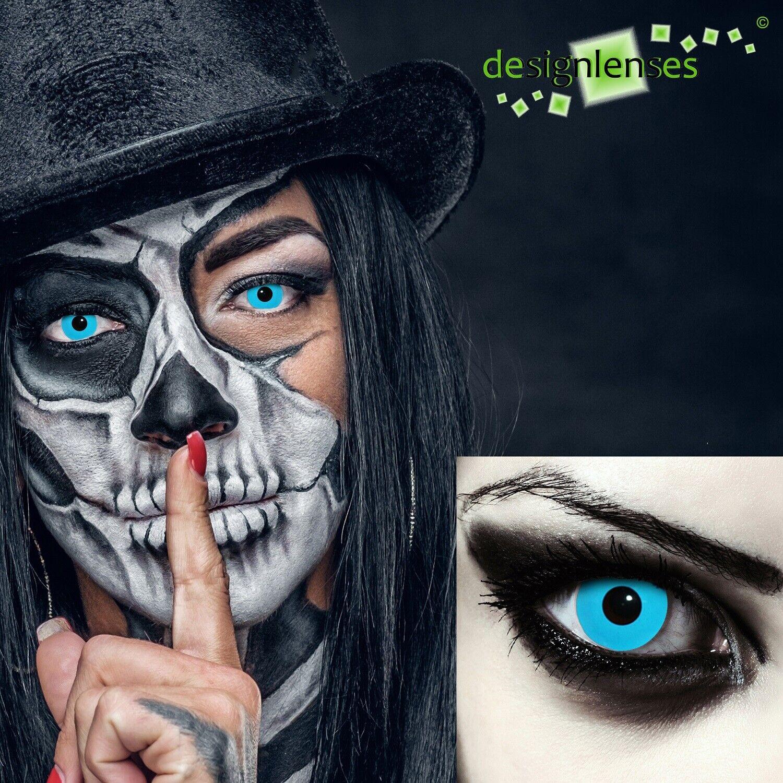 SALE Farbige Kontaktlinsen für Halloween Make up Zombie Vampir Kostüm weiß rot