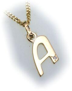 Anhänger Buchstabe A Diamant 0,005 ct echt Gold 333 8kt Gelbgold Unisex Neu