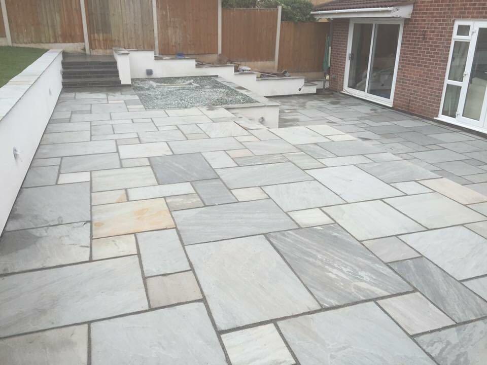 silver kandla grey indian sandstone paving slabs. Black Bedroom Furniture Sets. Home Design Ideas