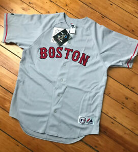 NWT-Vintage-Boston-Red-Sox-Johnny-Damon-18-Gray-Majestic-Sewn-Jersey-Sz-Med-New