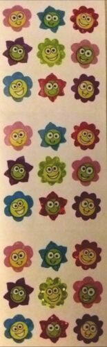 Sandylion HAPPY FACE FLOWER GLITTER SMILEY COLORFUL Stickers Vintage RARE!