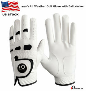 Golf-Gloves-Large-Men-Left-Hand-Ball-Marker-Weathersof-Leather-Soft-Fit-XL-ML-M