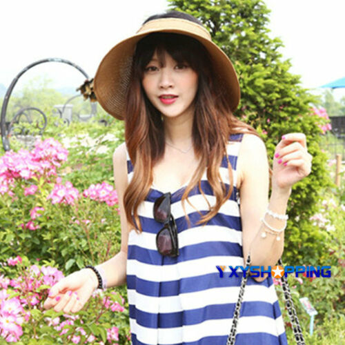 Ladies Summer Hat Sun Visor Straw Cap Beach Foldable Women Wide Brimmed Roll Up