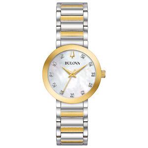 Bulova Futuro Women's Quartz Diamond Accent Mother of Pearl Two-Tone 30mm Watch