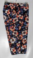 St John's Bay Woman Secretly Slender Classic Fit Floral Crop Pants Multi 18w