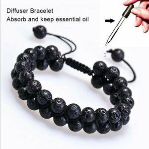 Double-Layer-Natural-Lava-Stone-Beaded-Bracelet-Energy-Diffuser-Mens-Bracelets