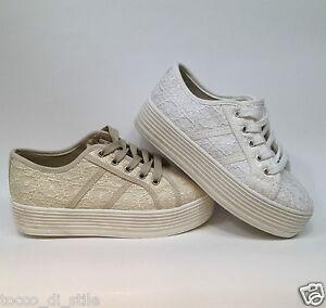 Scarpe da donna sportiva sneakers in tela con zeppe bianco beige 40 39 comode Rq8E5ADQKN