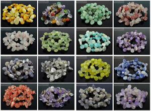 Natural-Gemstones-Freeform-Flat-Teardrop-Drop-Barpque-Beads-16-039-039-Jewelry-Crafts