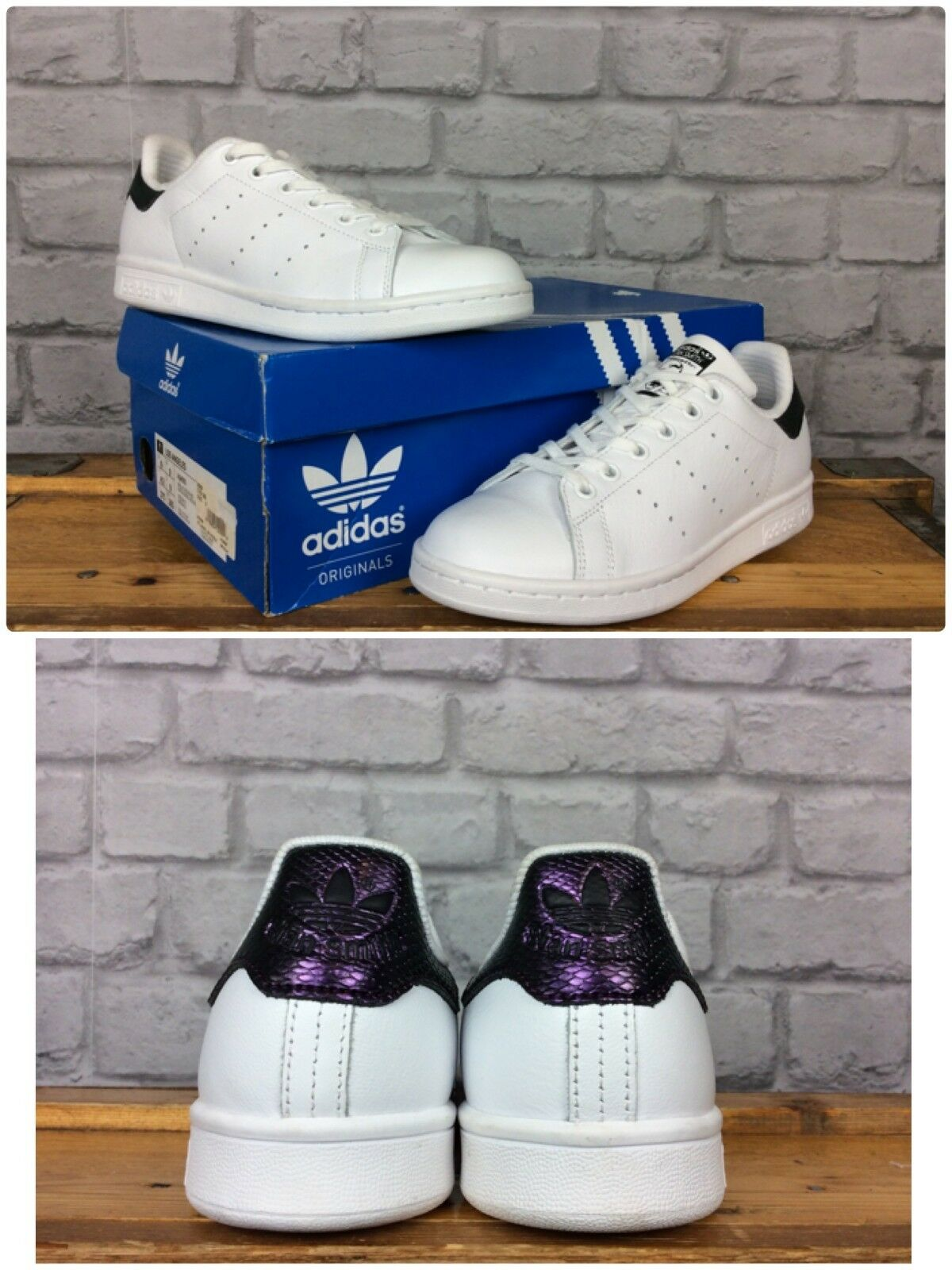 ADIDAS4 EU 36 2/3 STAN SMITH  blanc  TRAINERS PURPLE SNAKE HEEL LADIES GIRLS