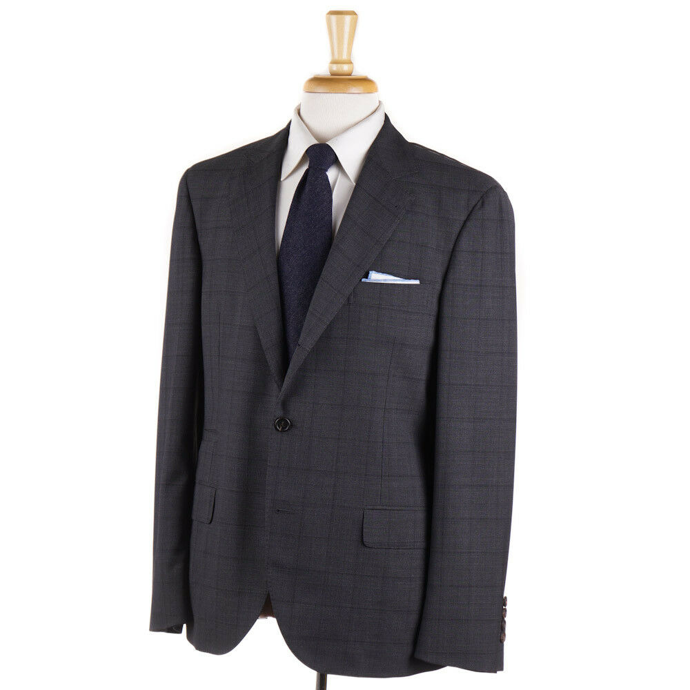 NWT  BRUNELLO CUCINELLI Charcoal Plaid Year-Round Wool Suit 40 R (Eu 50)