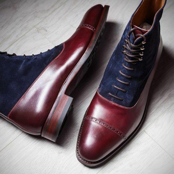 botas para hombre hecho a mano dos tonos de marrón y azul al tobillo con Cordones de Ropa Formal Informal Zapato