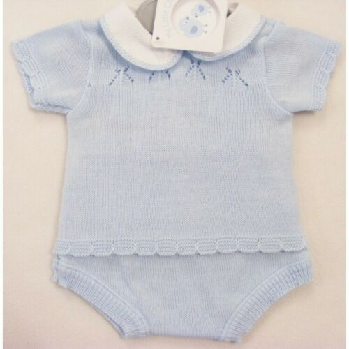 Baby Boys Girls Spanish Style Stunning Fancy Fine Knit Blue Top /& Jam Pants Suit