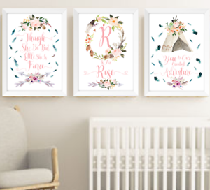 55b998274c8e3 Details about Boho Nursery Print Set Of 3 Turquoise & Pink, Personalised  Name Feather Teepee
