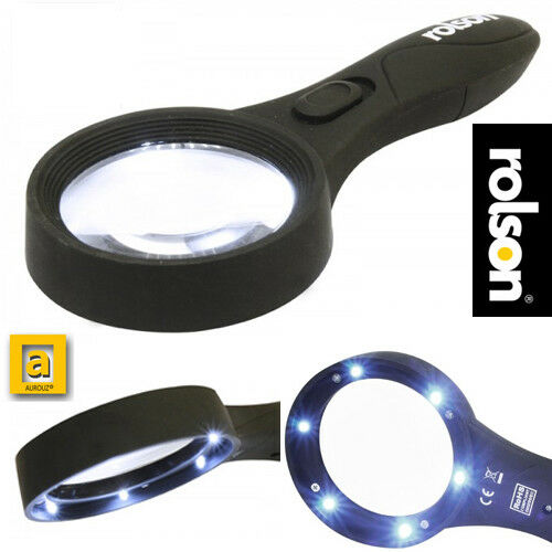 Rolson® Large Magnifying glass with Light Illuminated 6 LED Lamp reading books