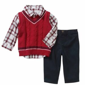 519bd4fd1ddfd Details about George Infant Boys 3P Holiday Outfit Red Sweater Vest Shirt &  Navy Pants