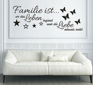 x182 wandtattoo spruch familie ist wo leben beginnt und. Black Bedroom Furniture Sets. Home Design Ideas