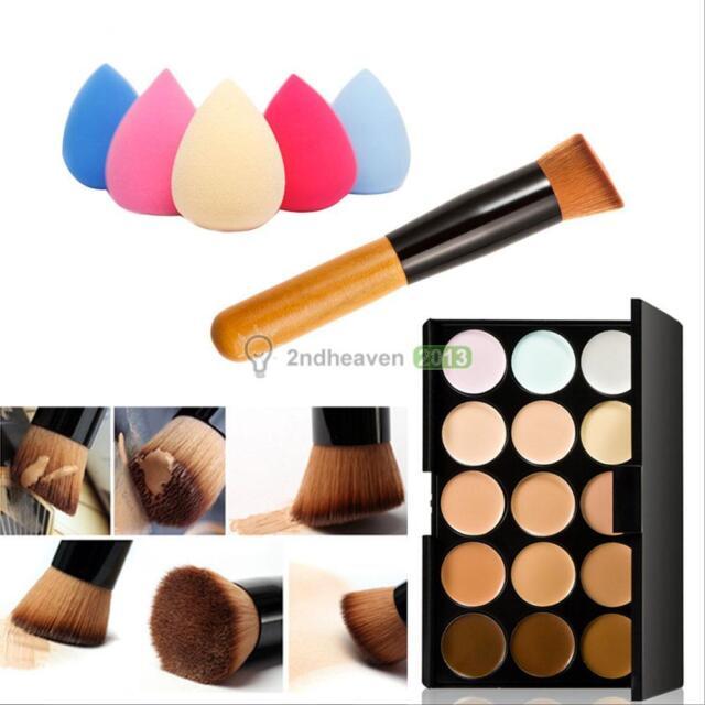 15 Colors Contour Face Cream Makeup Concealer Palette Powder Brush + Sponge Puff