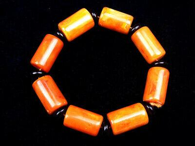 DemüTigen Tibetisch Bienenwachs Zylinder Perlen Armreif Flexibler Profil Alle Größen Perfekte Verarbeitung