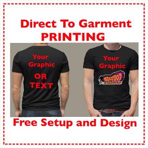 Black 100/%  Cotton Custom T-Shirt Full Color Direct To Garment Printing