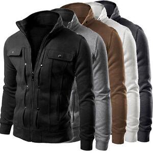 Hommes Col Montant Hauts Manteau Veste Militaire d'hiver Outwear Blazer Slim SP