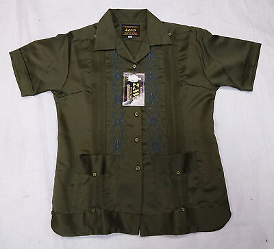 Authentic Women Guayabera Yucateca Copacabana Estilo Classica Olive