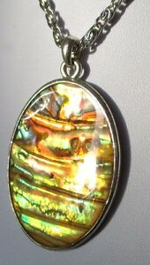Amical Superbe Pendentif Collier Bijou Vintage Couleur Argent Camée Nacre Abalone 4448