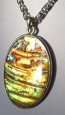 Superbe Pendentif Collier Bijou Vintage Couleur Argent Camée Nacre Abalone 4448