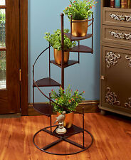 3 Ft. Tall Elegant Metal & Wood Spiral Staircase Plant Stand