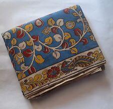 Cotton kalamkari block print fabric - 100 cms length by 43 inches floral Blue