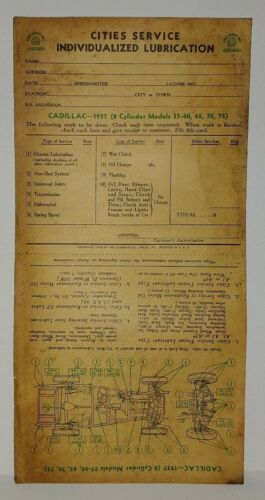 """1937 CADILLAC 8CYL 37-60 65 70 75   /""""CITIES SERVICE/"""" LUBRICATION RECORD ORIGINAL"""
