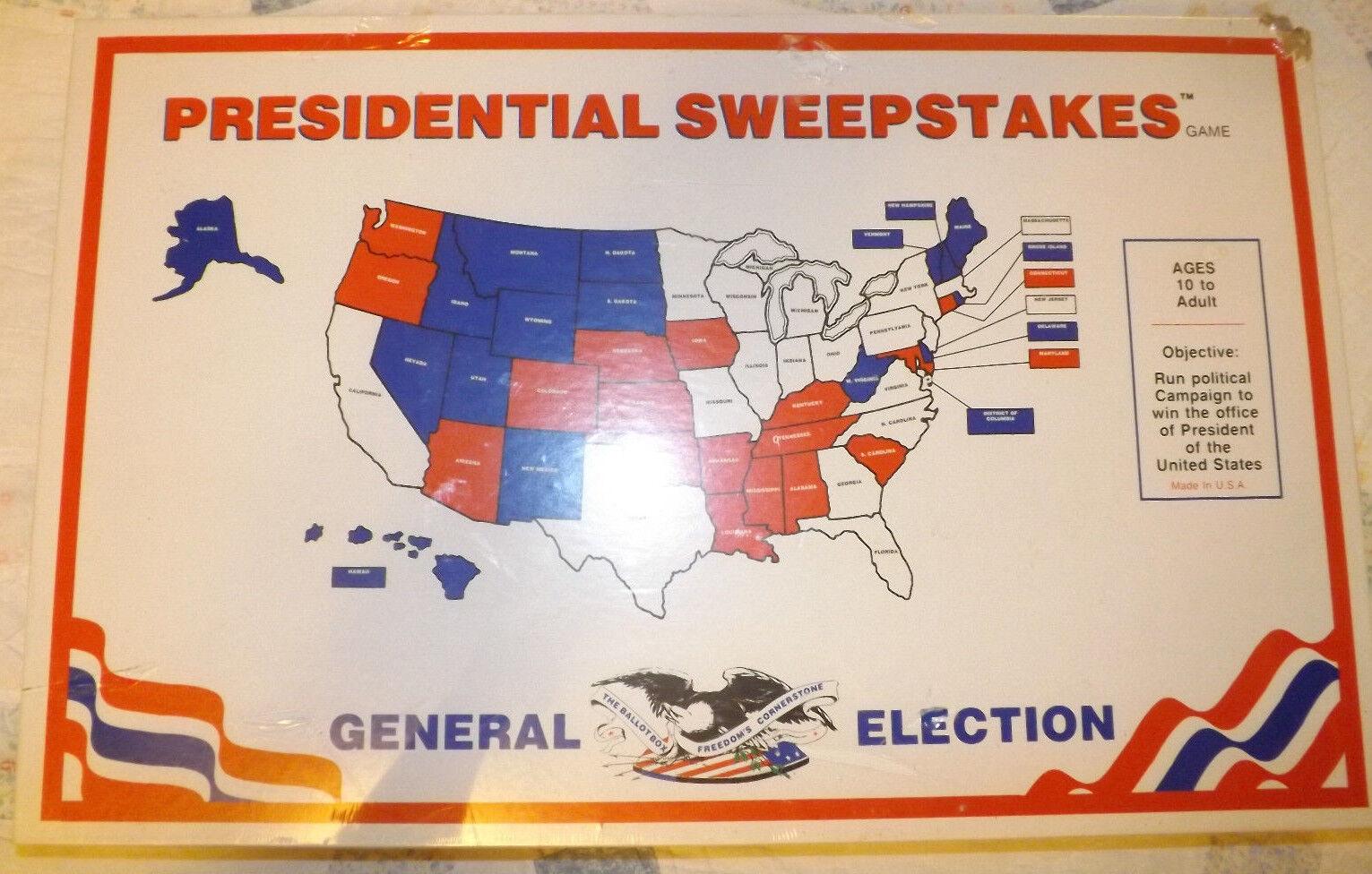 VINTAGE années 70  présidentiel Sweepstakes  BOARD GAME 10+ Ans 2-6 joueurs neuf dans emballage très difficile à trouver