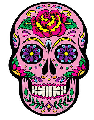 2 Pink Day of the Dead Sugar Skull Wall Decals Stickers Car Motorbike Laptop