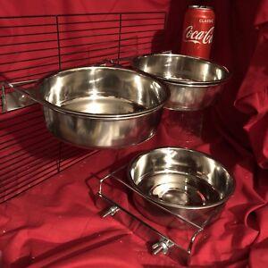 3 x perroquet cockatiel bols en cage de 20 cm ou tasse de nourriture pour eau de pince de voyage