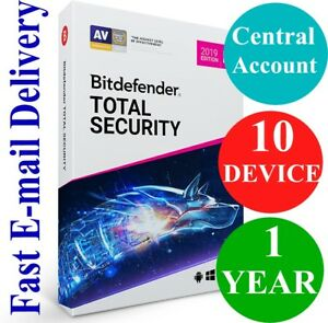 Details about Bitdefender Total Security 10 Device / 1 Year + VPN (Account  Subscription) 2019