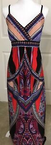 MSK-size-12-red-purple-black-spaghetti-strap-v-neck-maxi-dress-women-039-s