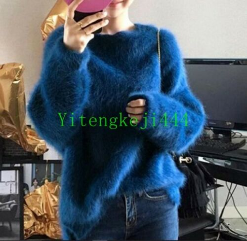 Women Casual Korean Chic Mink Fur Pullover Loose Cardigan Round Neck Sweater New