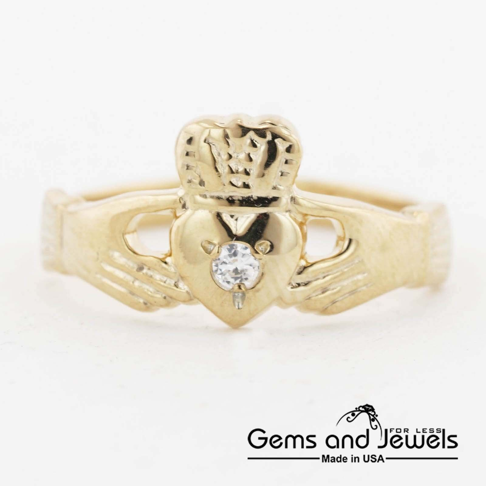 1286 Claddagh Ring in Solid 14K Yellow gold Women's Ring  139