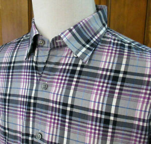 EUC-ERMENEGILDO-ZEGNA-Mens-XXL-GRAY-PURPLE-BLUE-PLAID-L-S-Button-Up-Oxford-Shirt