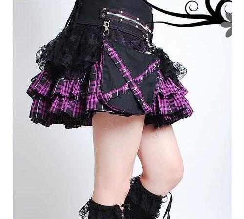 Tartan & Lace Rock with detachable Belt & Pockets lila Goth Lolita Punk 61091