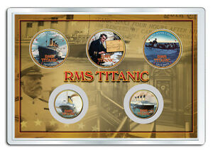 TITANIC-RMS-100th-Anniversary-RESCUE-5-COIN-SET-24K-Gold-Plated-Legal-US-SET