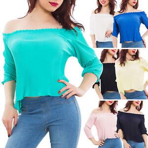 Maglia-donna-maglietta-velata-plissettata-ruches-carmen-gitana-nuova-CJ-2098