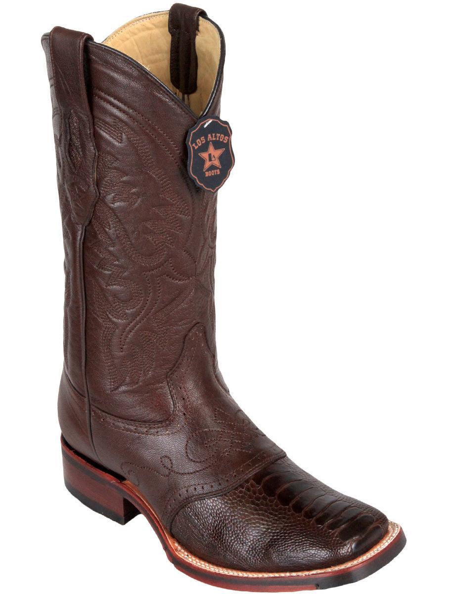 Los altos Marron Autruche Jambe bout carré TPU semelle en caoutchouc Western Cowboy démarrage EE +