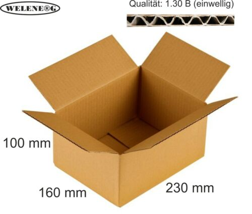braun 100 Faltkartons 230x160x100mm B-400g//m2  Versandkarton Falt Kartons