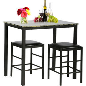 Kitchen-Dining-Table-Chairs-Set-Marble-Rectangular-Breakfast-Wood-Desk-amp-2-Chairs