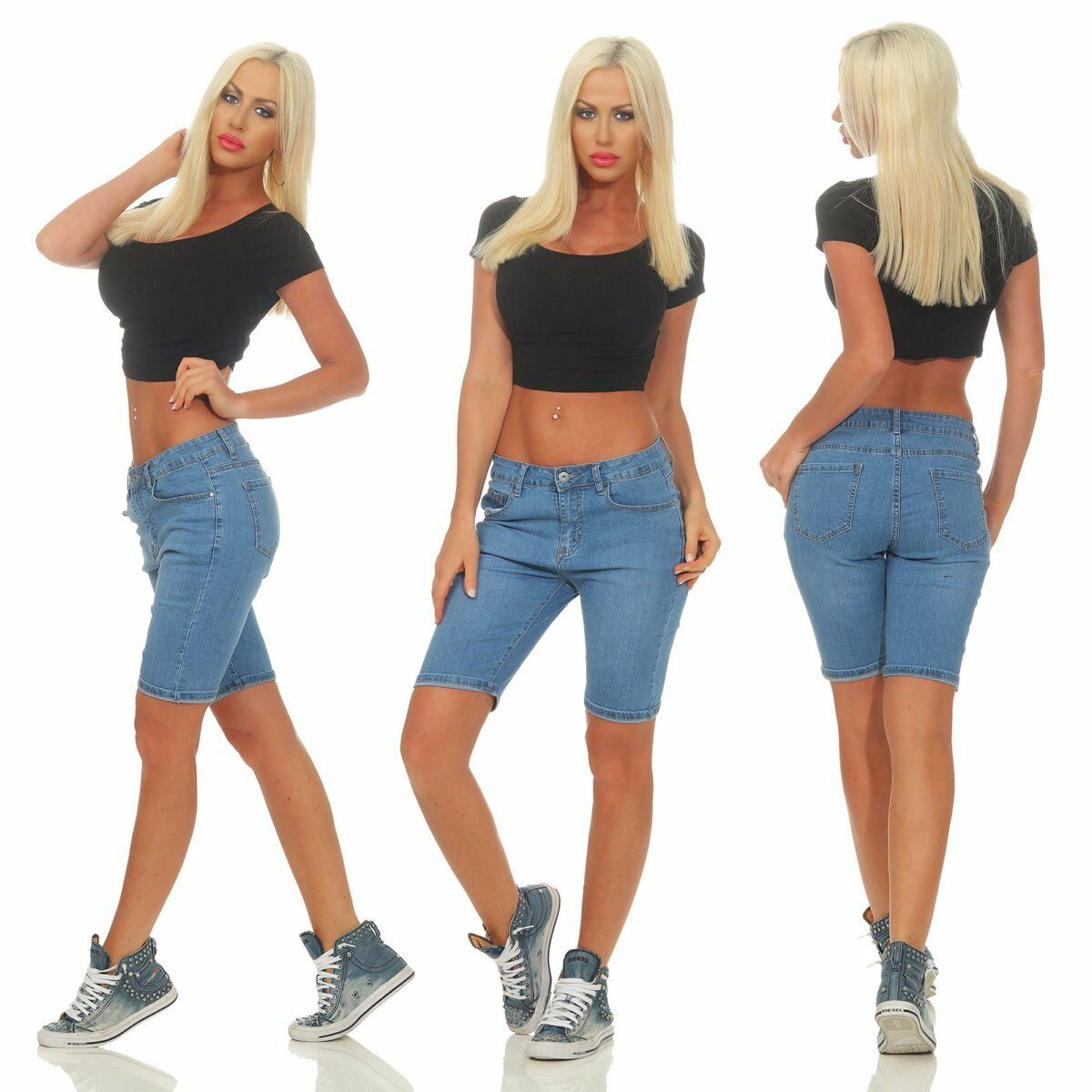 5288 Sexy Damen Jeans Bermuda Slim-Fit Shorts kurze Hose Übergrößen Panty .