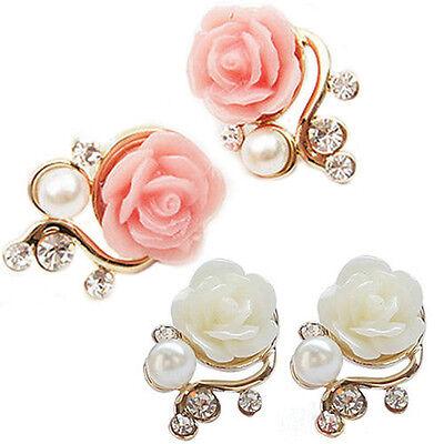 Delicate Pink/White Rose Flower Gorgeous Crystal Rhinestone Pearl Stud Earrings