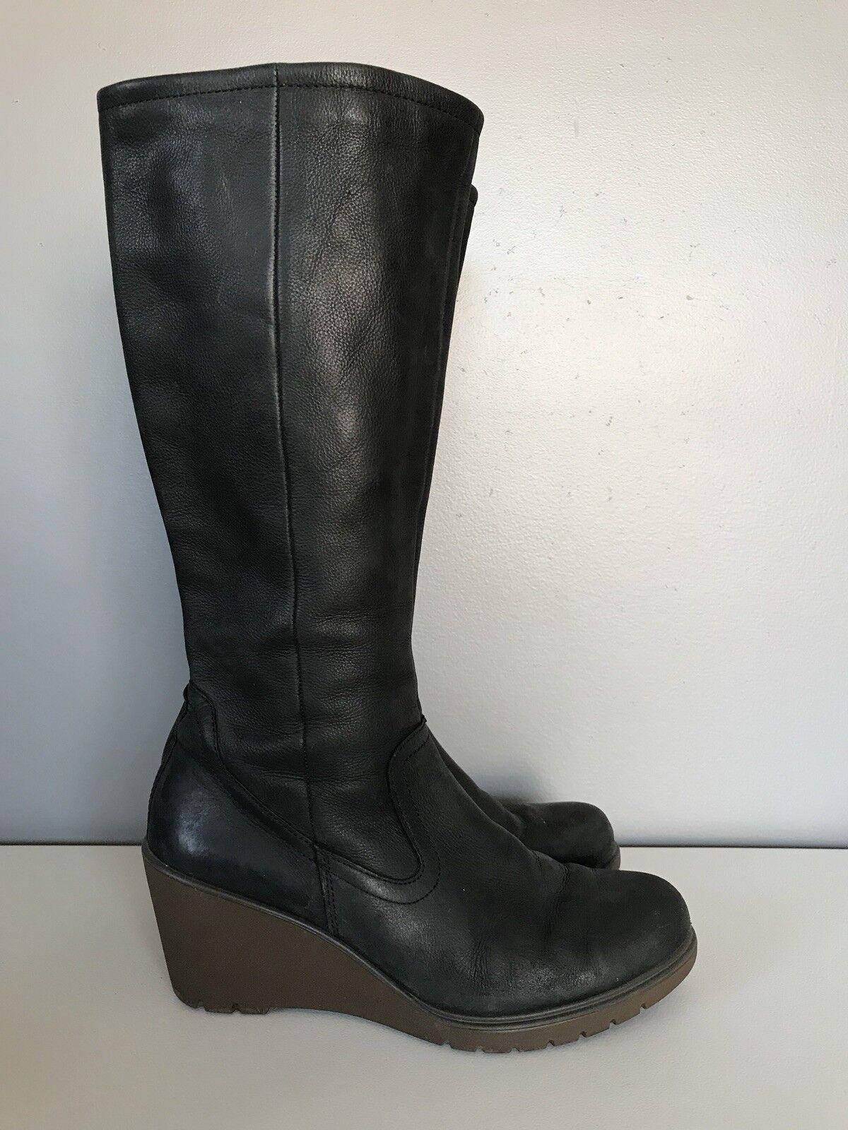 ECCO de Cuero Negro botas de cuña de alto Mitad de