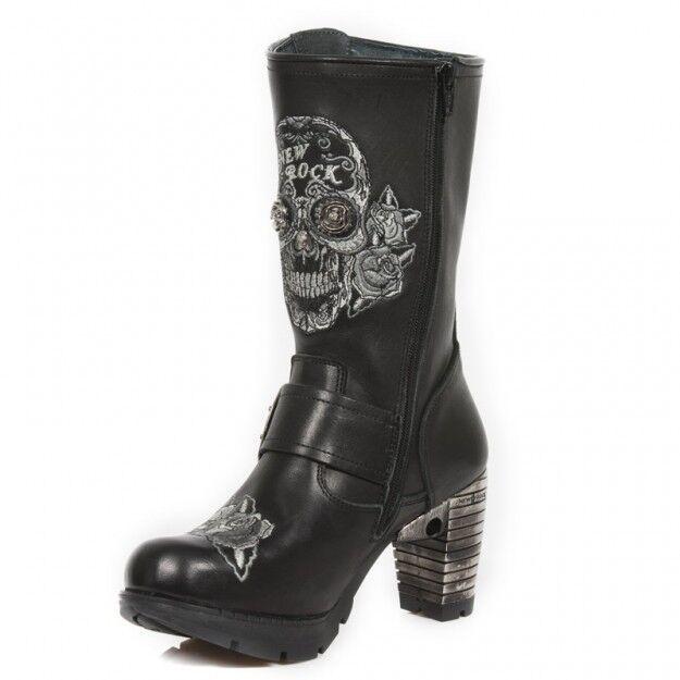 New Rock Newrock Tr047-S1 Black Leather Ladies Biker  Heel Boots Sugar Skull