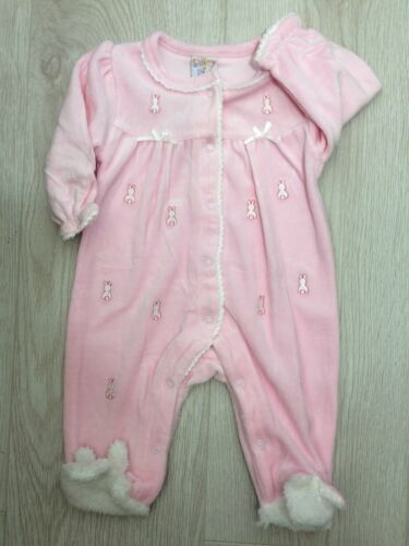 Baby Girls Romany Spanish Pink Baby Gro with Bunny Rabbit Babygro Sleepsuit *