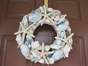 Image Is Loading Beach Decor  Handmade Seashell And Starfish Driftwood Wreath